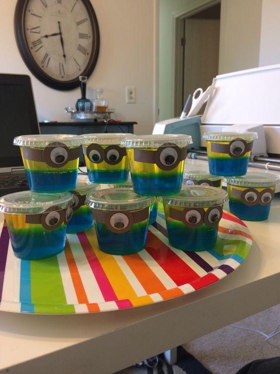 minion jello cups for a dessert table