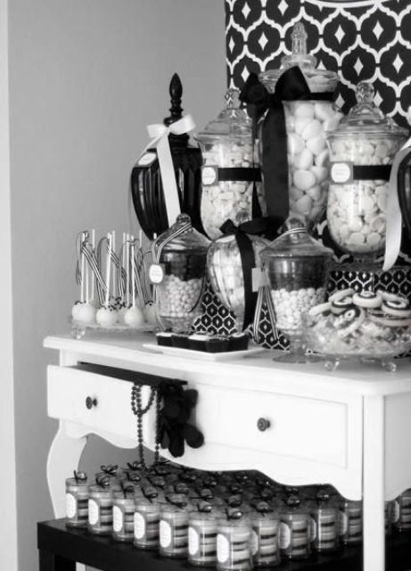 monochrome candy buffet