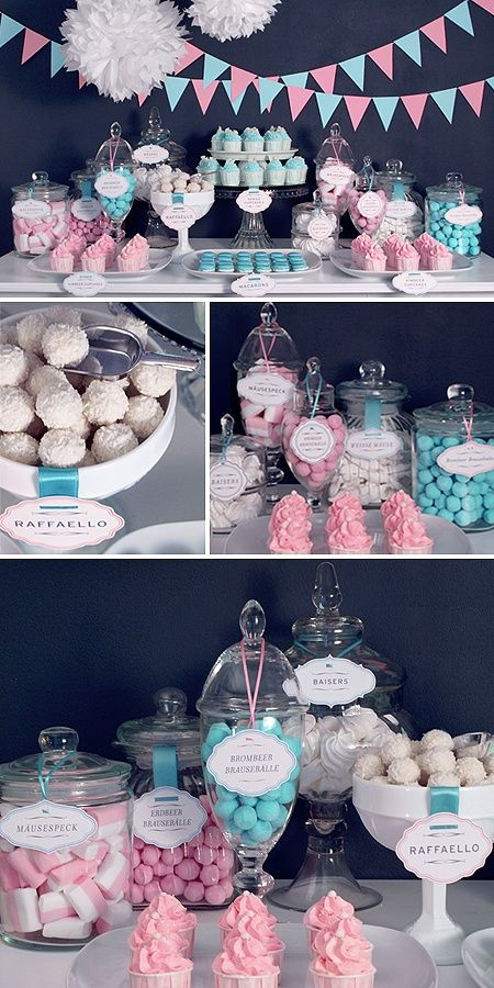 pink and blue candy table to gind out the gender