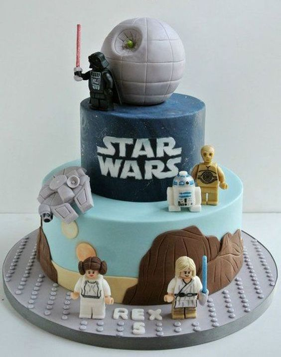 Lego Star Wars cake with a Death Star topper