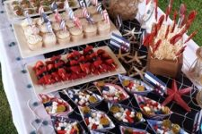 27 sailor dessert table with candies and cupcakes