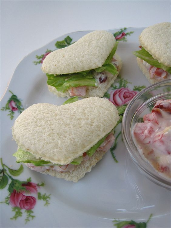 tea time dainty heart sandwiches