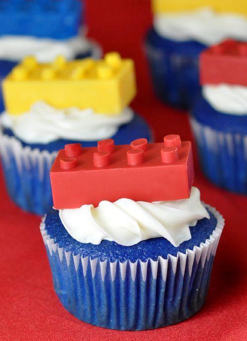lego brick cupcakes