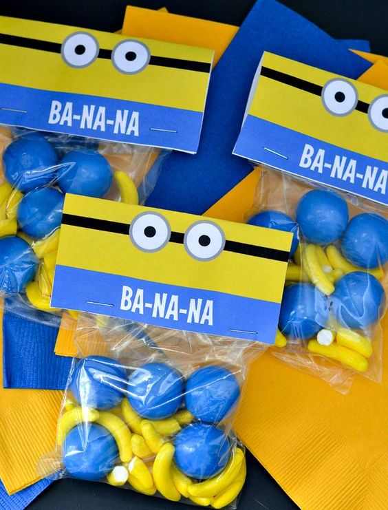 minion treats with printables on the packs