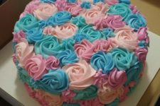 28 pink and blue rosette party cake