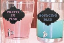 30 take drinks in pink and blue