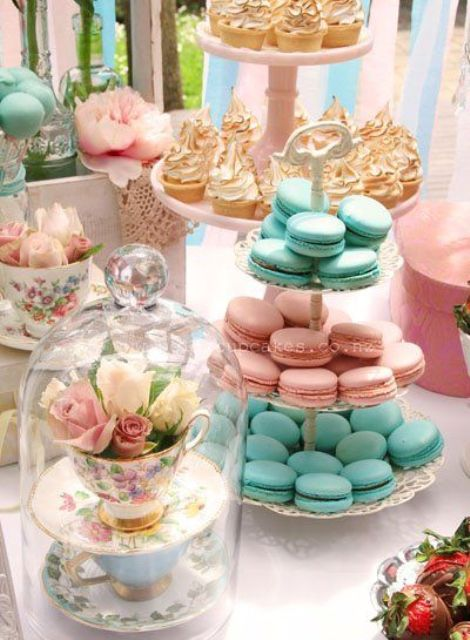vintage tea cups and stands for displaying, pastel desserts