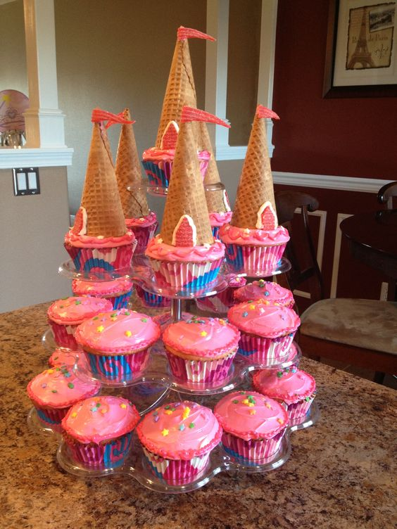 princess birthday cupcake tower that looks like a castle