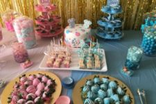 31 sweets table for a gender reveal baby shower