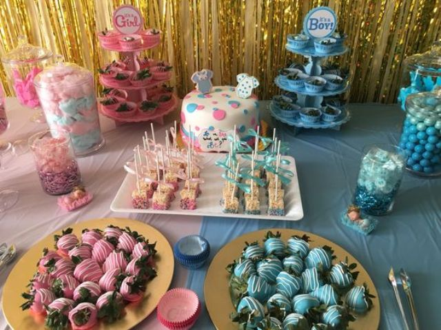 sweets table for a gender reveal baby shower