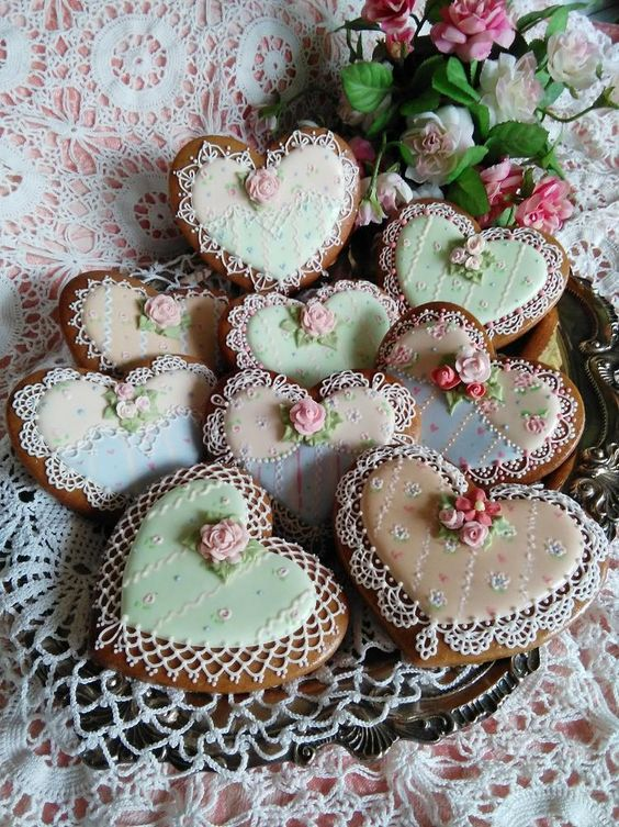 vintage tea party cookies with colorful frosting