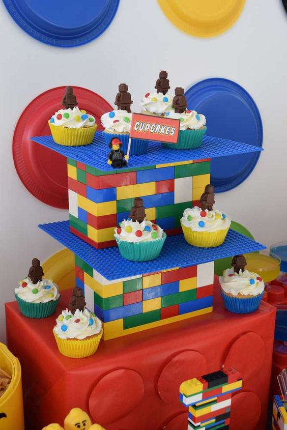 Lego cupcake stand and chocolate cupcake toppers