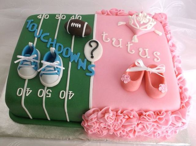 super fun gender reveal cake with ruffles