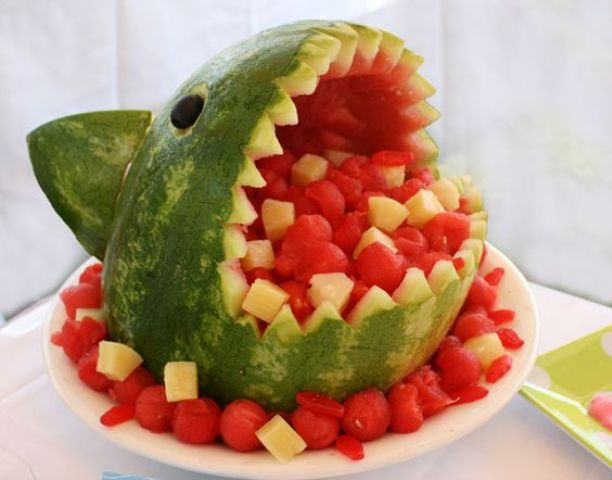 watermelon shark filled with fruit