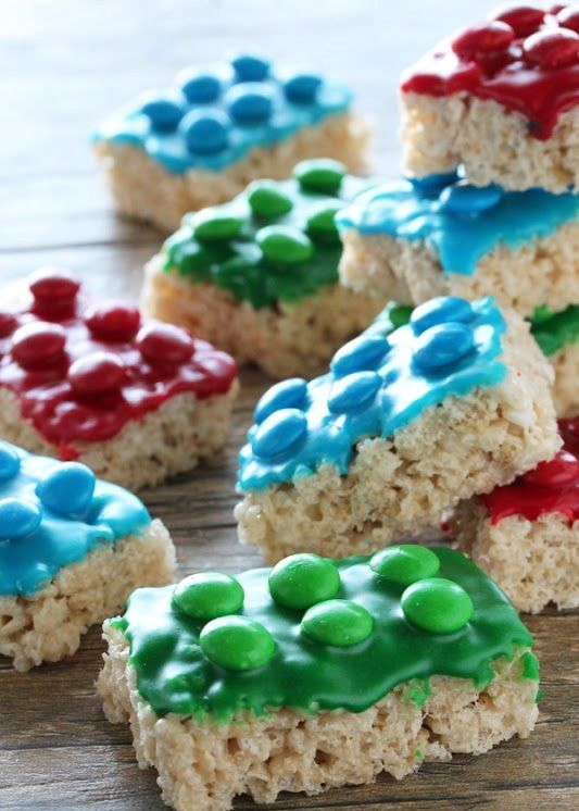 rice krispie treat for lego parties