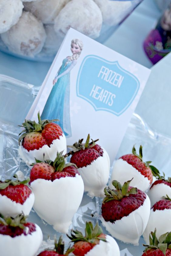 strawberries in white chocolate with 'Frozen Hearts' printable