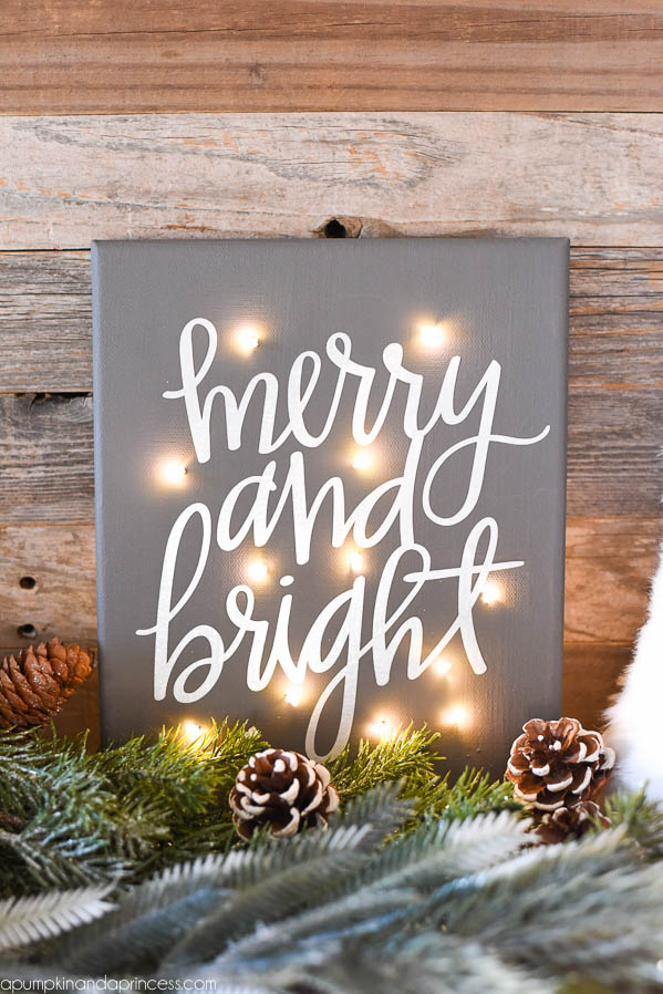 DIY twinkle light canvas (via apumpkinandaprincess.com)