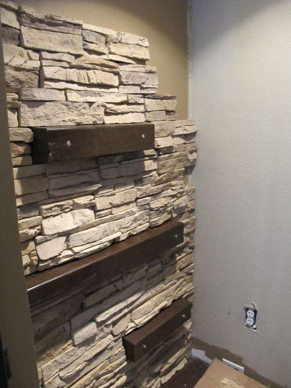 Faux Walls Ideas Part - 39: DIY Installing Faux Stone On The Accent Wall (via  Myuncommonsliceofsuburbia.com)