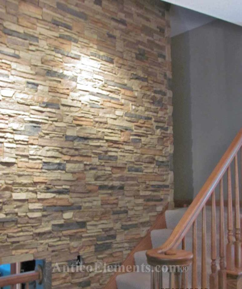 DIY faux stone wall with interlocking panels (via www.anticoelements.com)