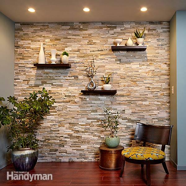 DIY faux stone accent wall with stone veneer (via www.familyhandyman.com)