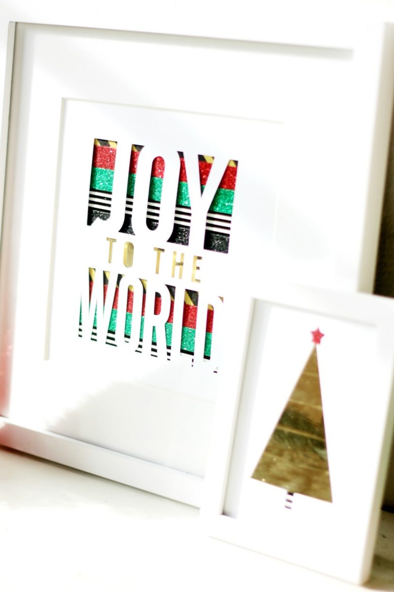 DIY washi tape Christmas art (via prettylifegirls.com)