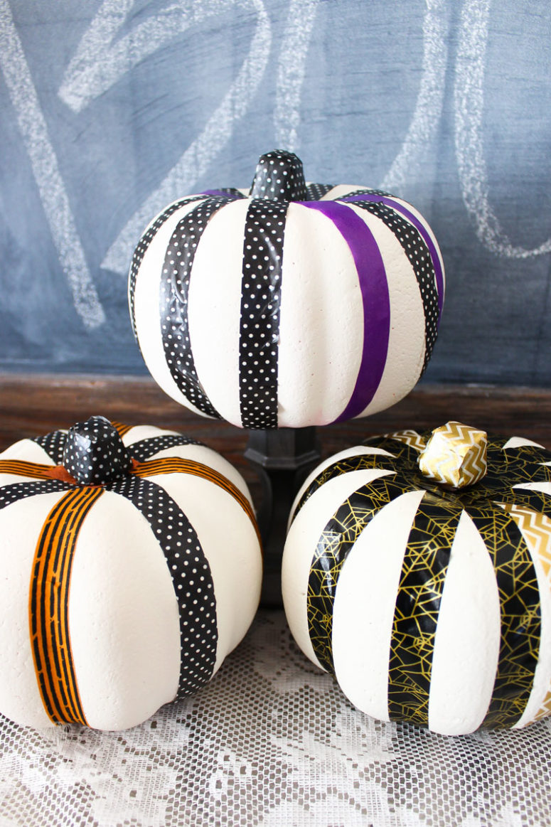 DIY washi tape and paint pumpkin  (via thekolbcorner.com)