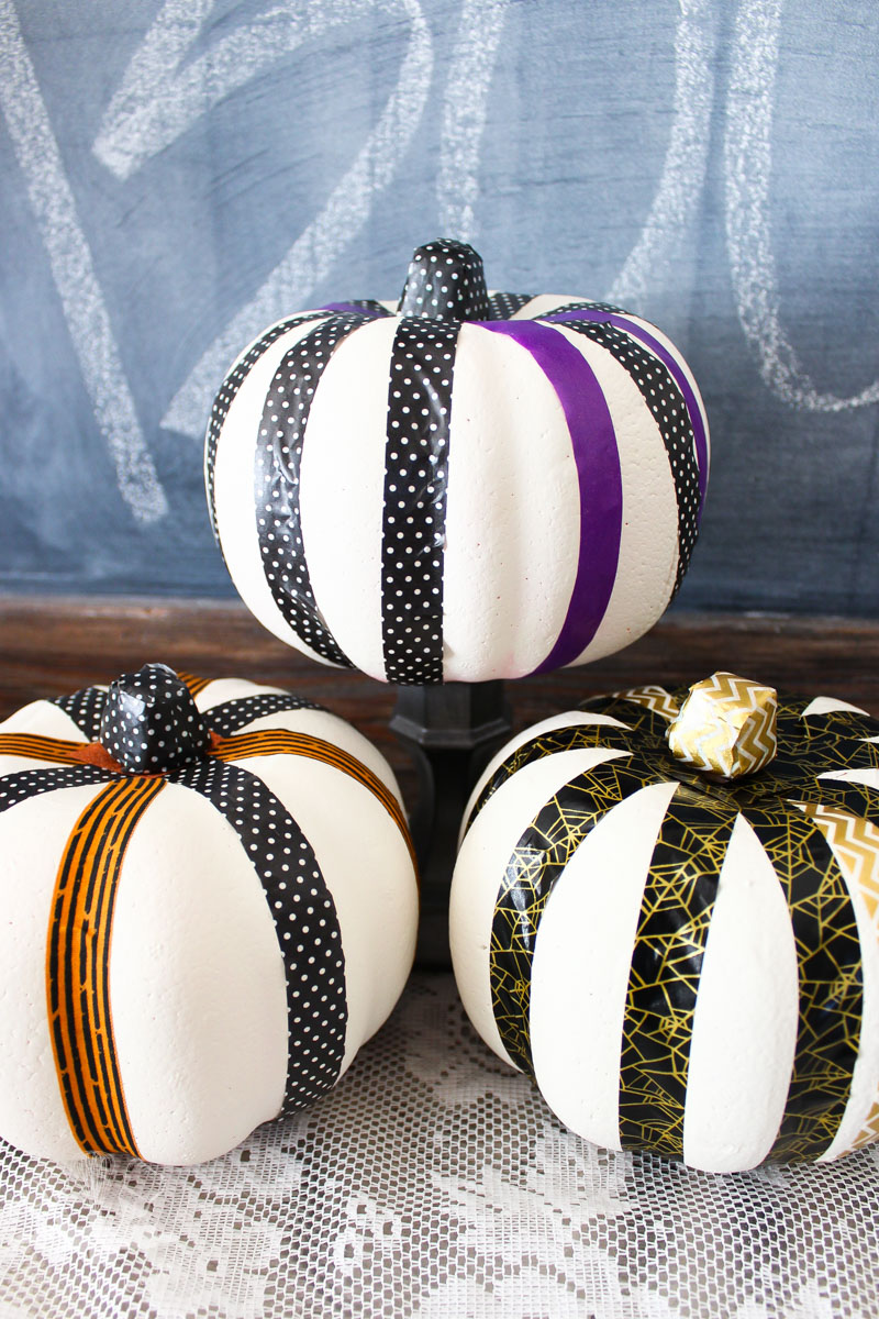 DIY washi tape and paint pumpkin