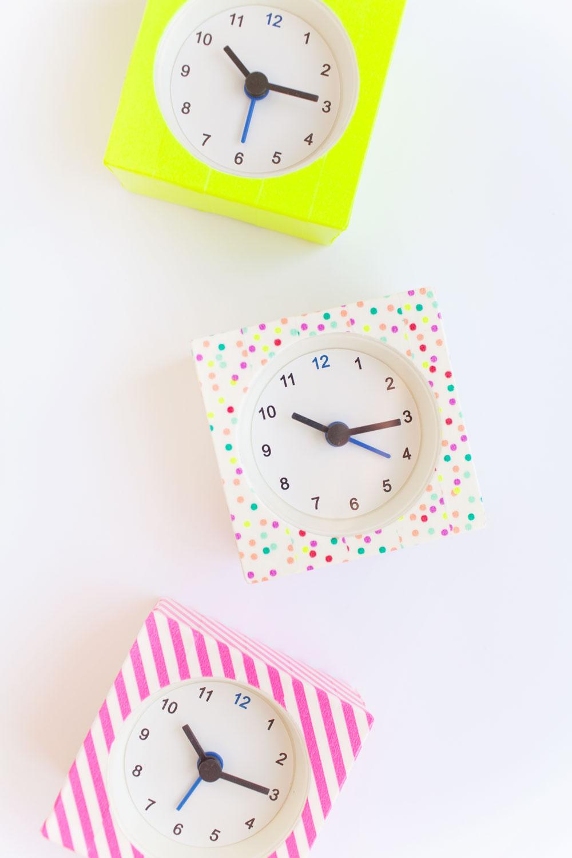 DIY washi tape clocks