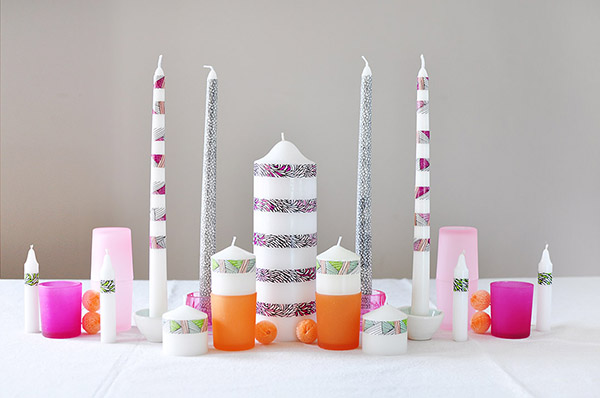 DIY centerpiece with washi tape candles (via www.delineateyourdwelling.com)