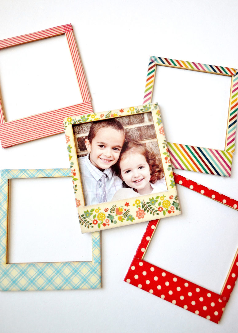 DIY wooden Polaroids decorated with washi tape (via www.burlapandblue.com)