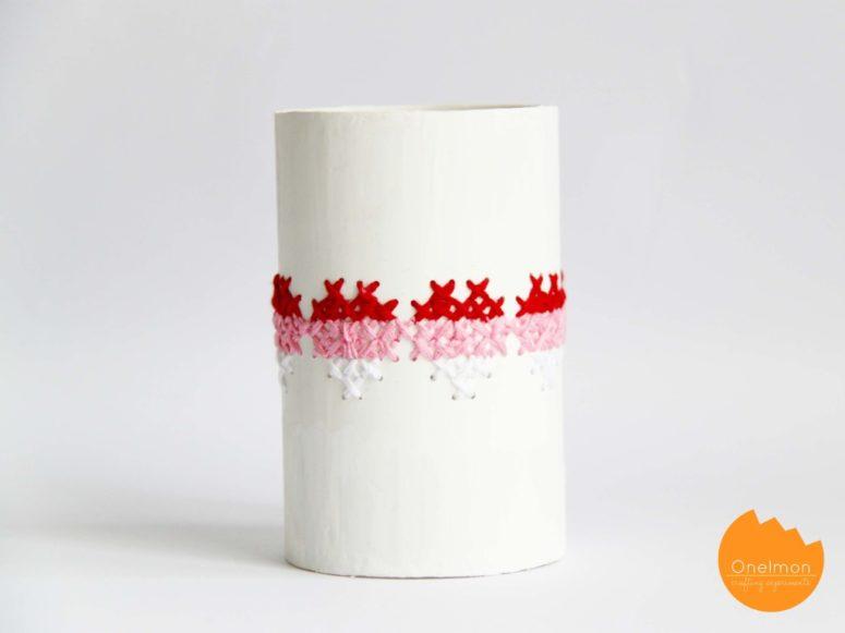 DIY cross-stitched PVC pipes (via onelmon.com)