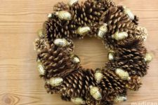 DIY gilded pinecone and ornament wreath