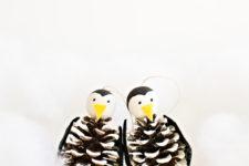 DIY pinecone penguin Christmas ornaments