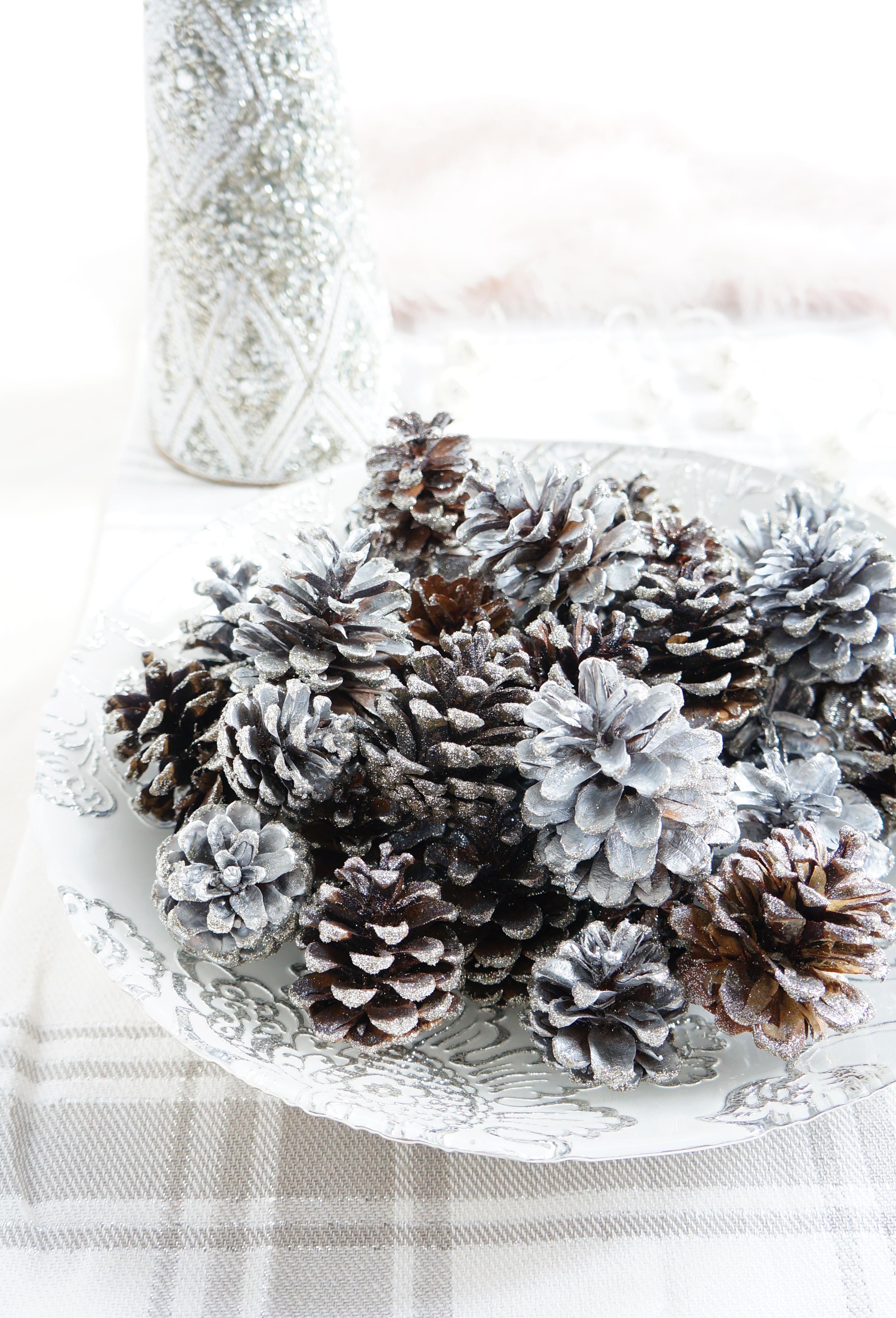 DIY sparkly pinecone display