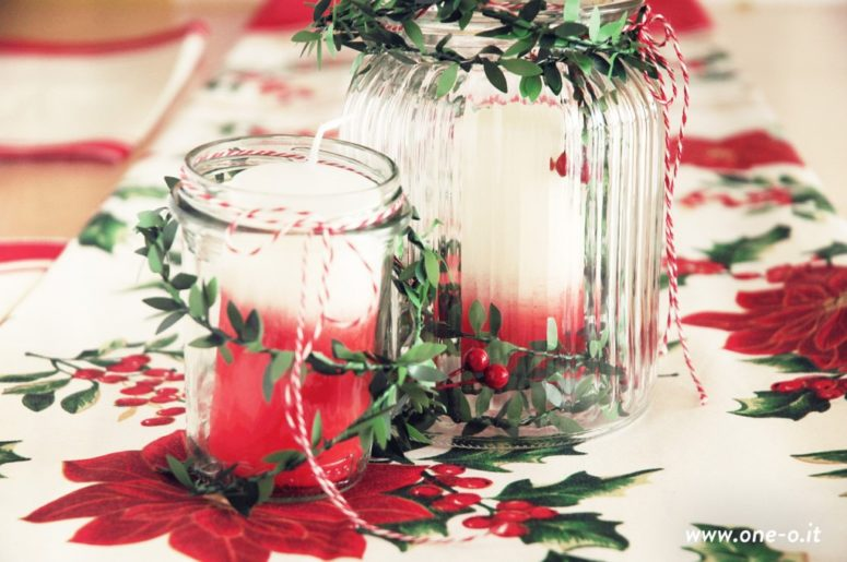 DIY ombre Christmas centerpiece (via www.one-o.it)