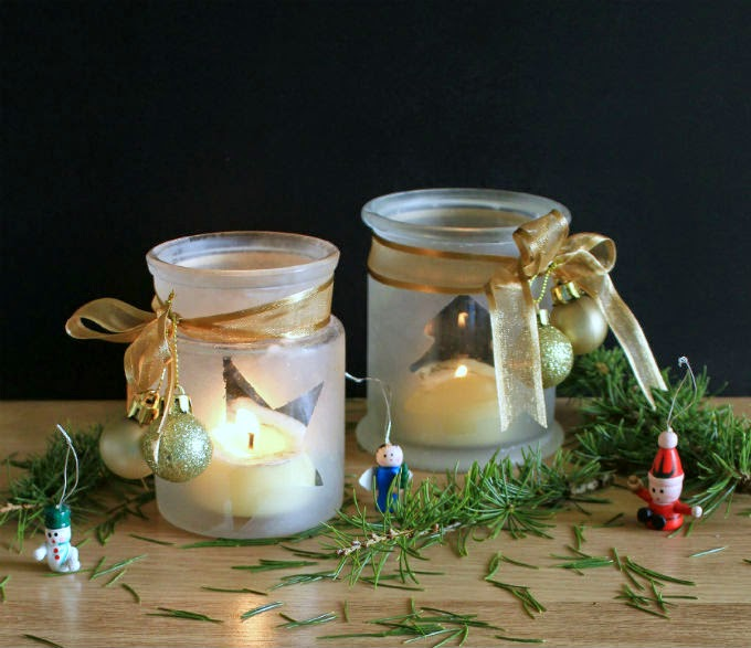 DIY frosted candle jar luminaries (via www.thecandidkitchen.com)