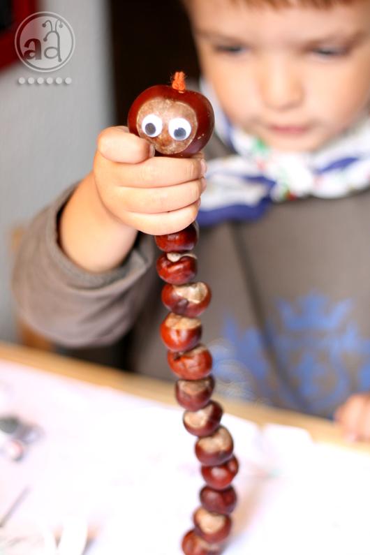 DIY chestnut worm for your kids to make (via www.artsyants.com)