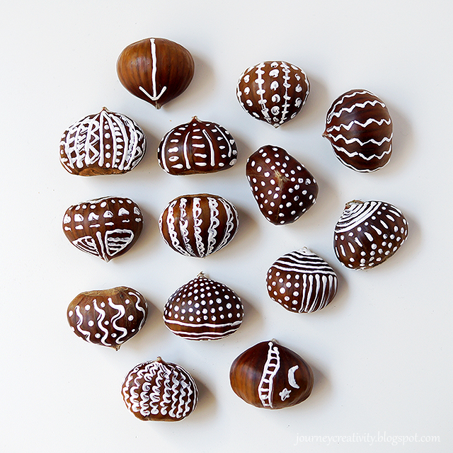 DIY chestnuts painted with white paint (via journeycreativity.blogspot.ru)