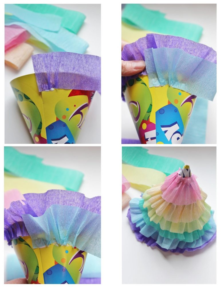 DIY rainbow ruffle party hats for My Little Pony parties (via icingdesignsonline.blogspot.ru)