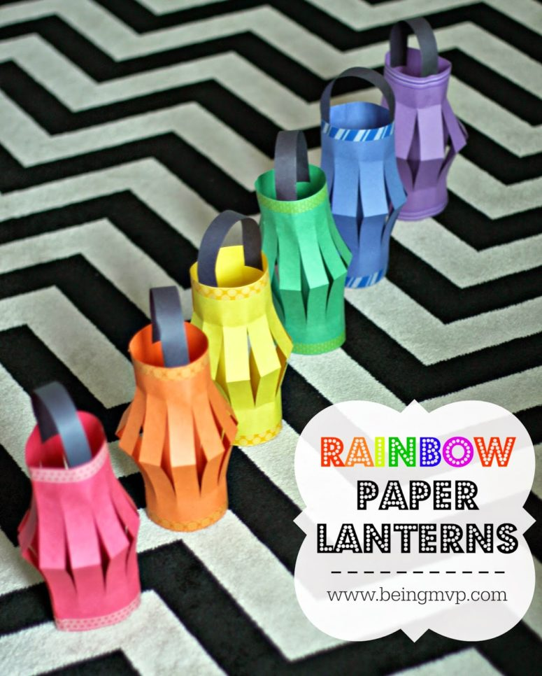 DIY rainbow paper lanterns (via www.beingmvp.com)