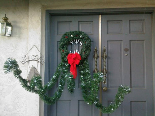 diy man eating wreath from nightmare before christmas via wwwinstructablescom - The Nightmare Before Christmas Decorations
