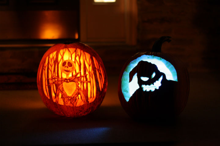 DIY Nightmare Before Christmas jack-o-lanterns (via elephanteats.com)