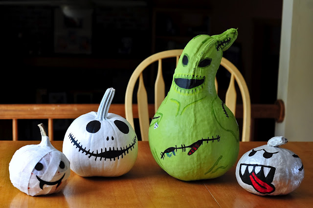 DIY Mummy, Jack, Ooogie Boogie, and Boo pumpkin decor (via bonnieroseblog.co.uk)