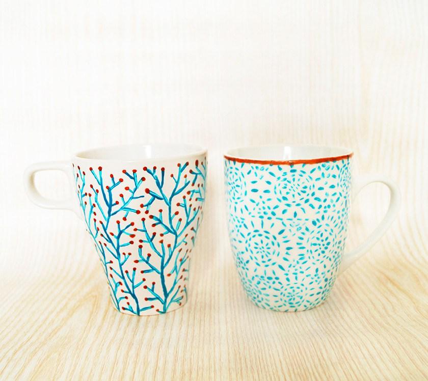 DIY subtle blue mugs
