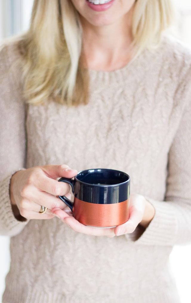 DIY dipped copper coffee mug (via www.designimprovised.com)