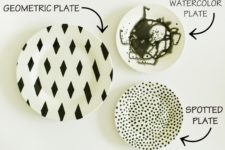 DIY black and white plates in various patterns