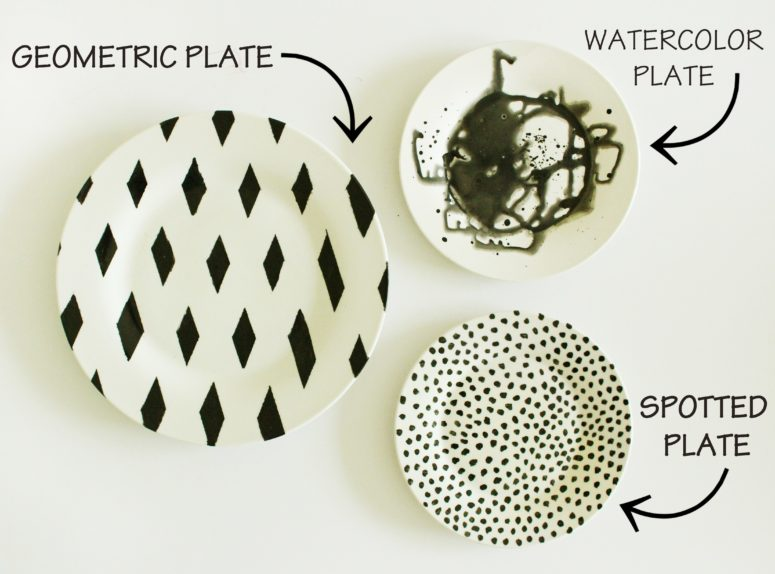 DIY black and white plates in various patterns (via www.laceyplacey.com)