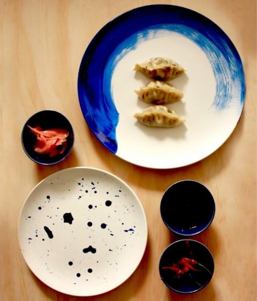 DIY indigo painted plates