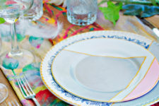 DIY pastel and geometrical dinnerware from thrifty plates