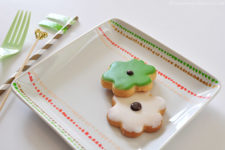 DIY spring cookie dish painted in green and red